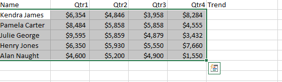where is the quick analysis tool in excel