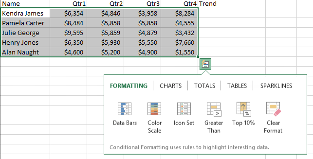 Quick Analysis Tools In Excel 2013 Microsoft Training