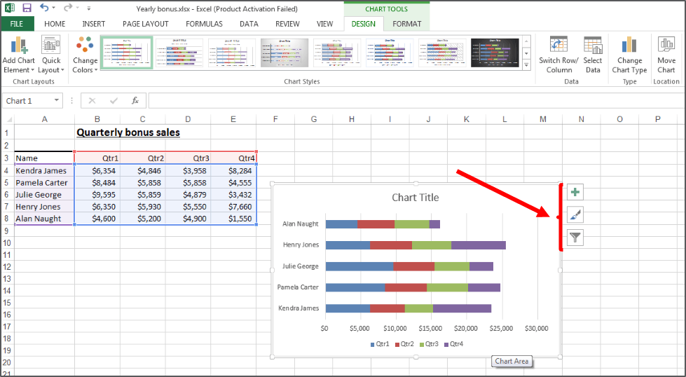 how do you change a chart style in excel 2013: Repositioning of the chart formatting tools in excel 2013