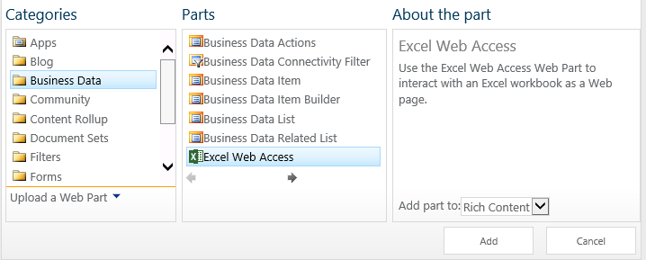 Dashboards in SharePoint 2013 using the Excel Web Access Web
